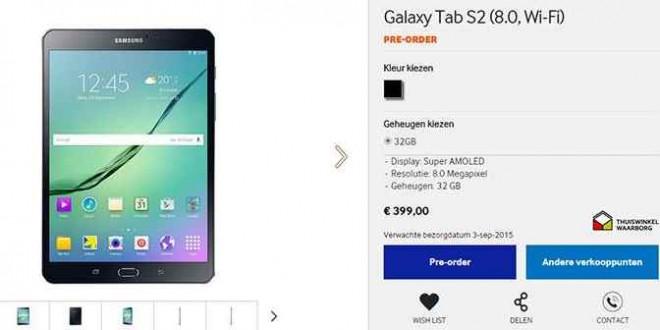Samsung Galaxy Tab S2 al via i preordini